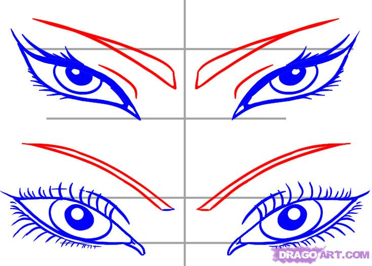 734x524 How To Draw Girls Eyes, Step