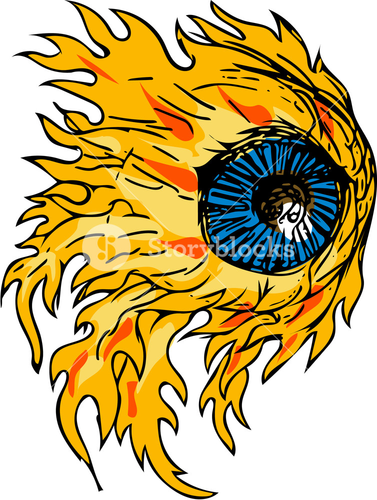 754x1000 Drawing Sketch Style Illustration Of An Eyeball On Fire Viewed