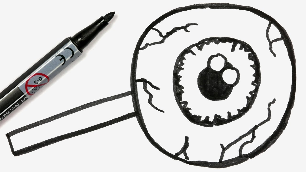 1280x720 How To Draw A Cartoon Halloween Eyeball Lollipop