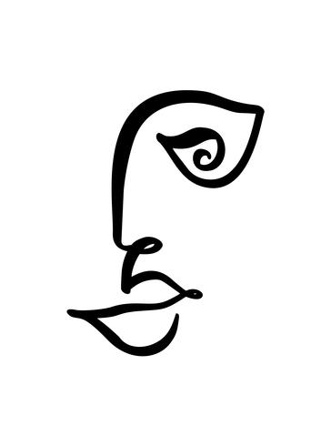 364x490 Continuous Line, Drawing Of Woman Face, Fashion Minimalist Concept