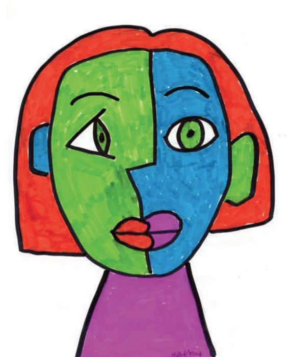 575x700 Marker Cubism Face Art Projects For Kids