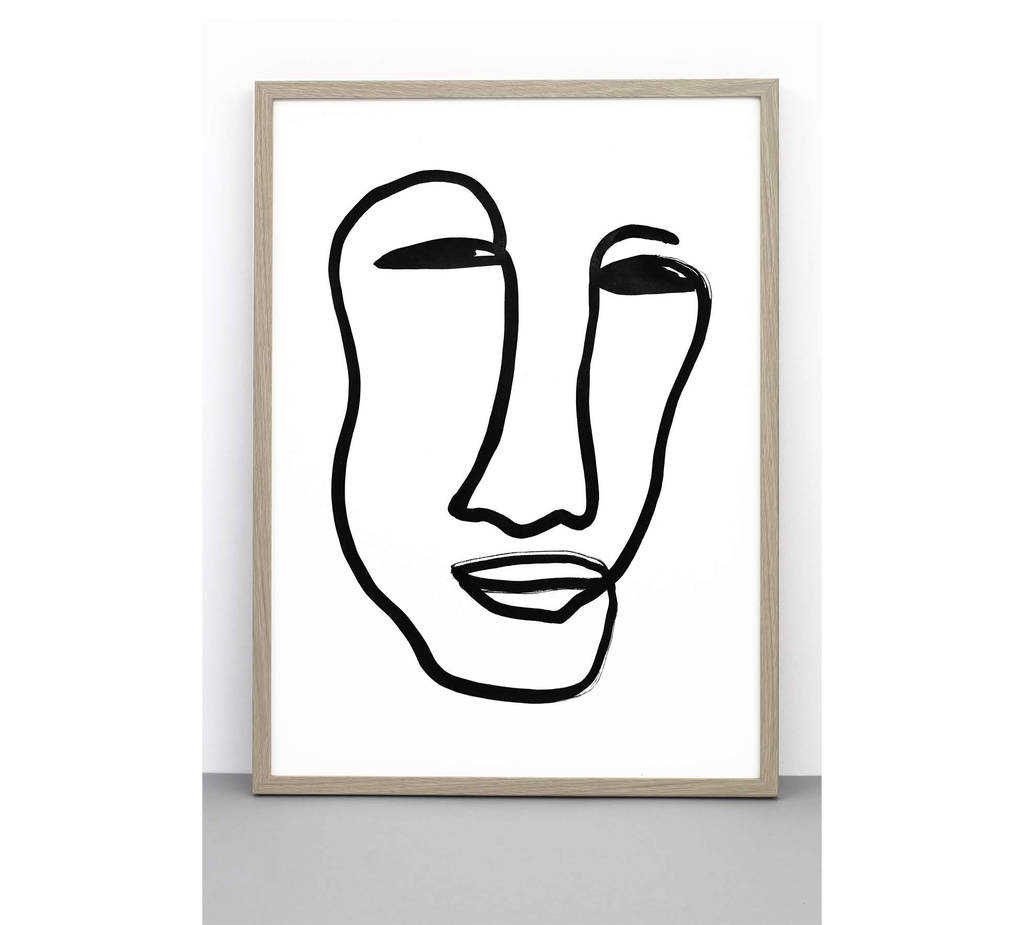 1024x925 Face Print, Portrait Poster, Line Drawing Wall Art
