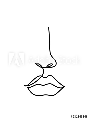 375x500 Astract Face Line Art Continuous Line Drawing Minimalist Logo