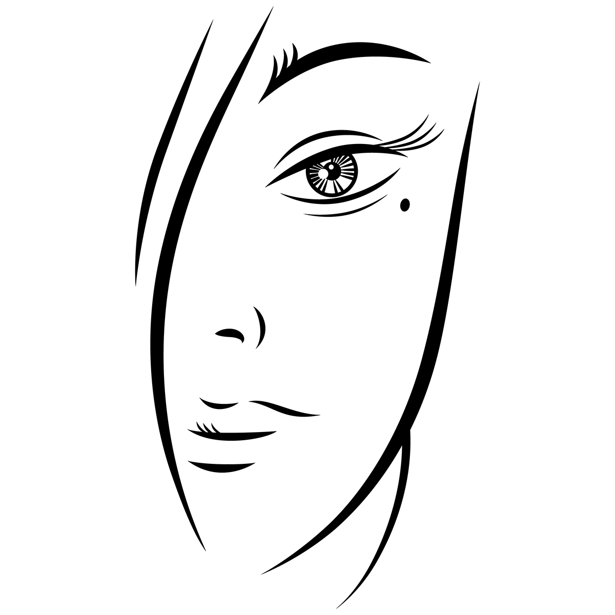 1200x1200 Free Beautiful Young Woman Face Black Ink Sketch On Behance