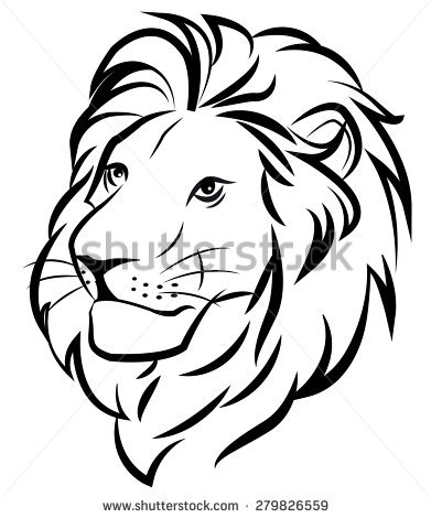 391x470 Lion Face Black And White Clipart