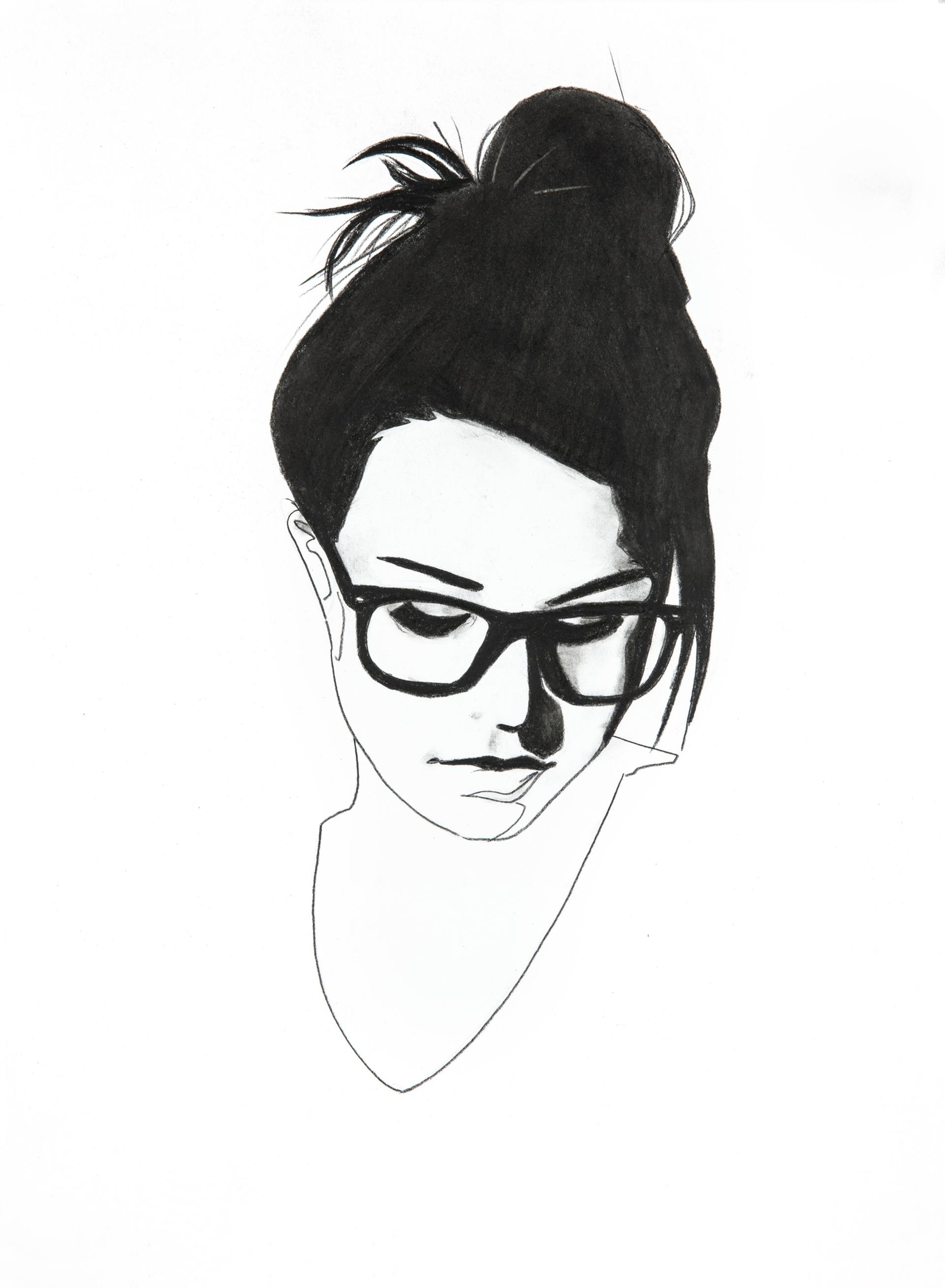 1920x2616 Black And White Girl Face Drawing Of A Little Cartoon Cool