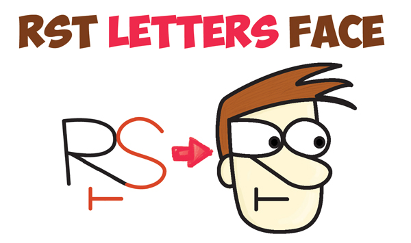 600x355 How To Draw A Cartoon Face With Alphabet Letters R, S, T, And U