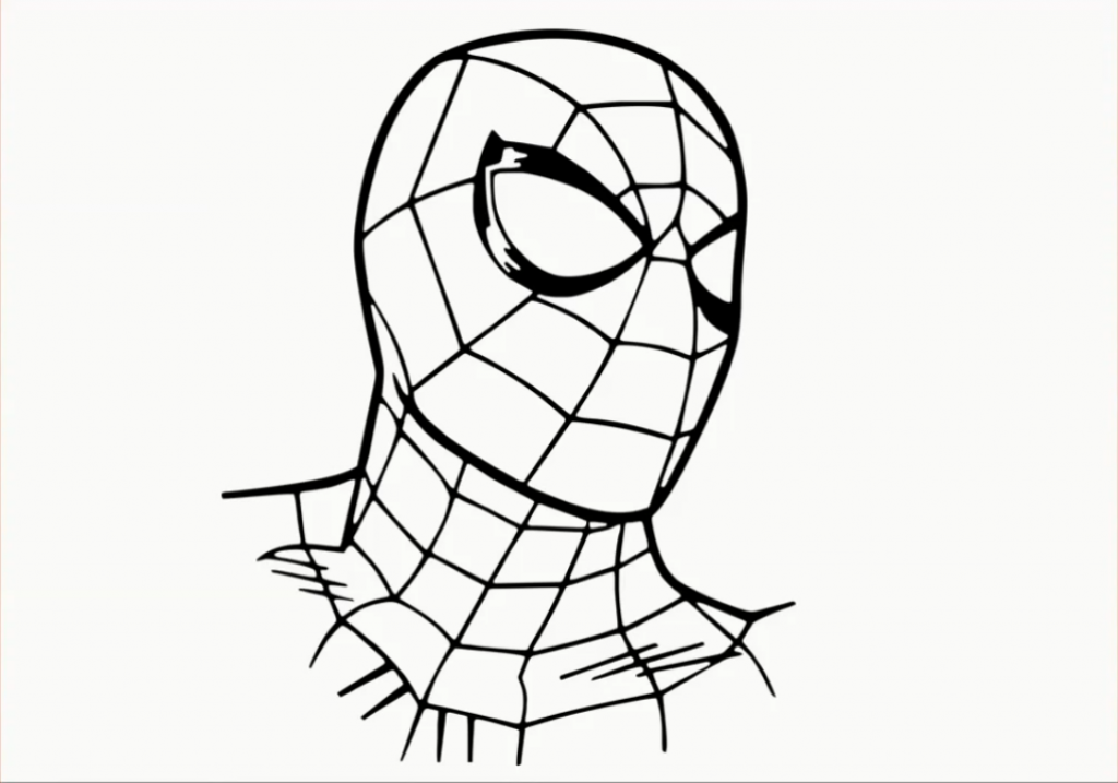 1024x717 Spiderman Face Drawing Step