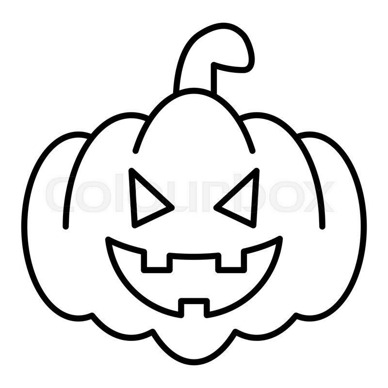 800x800 Kind Pumkin Thin Line Icon Halloween Stock Vector Colourbox