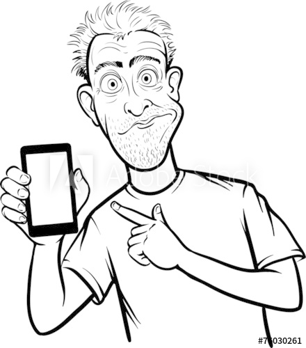 440x500 Line Drawing Of A Shocked Man Showing A Mobile App On A Smart Ph