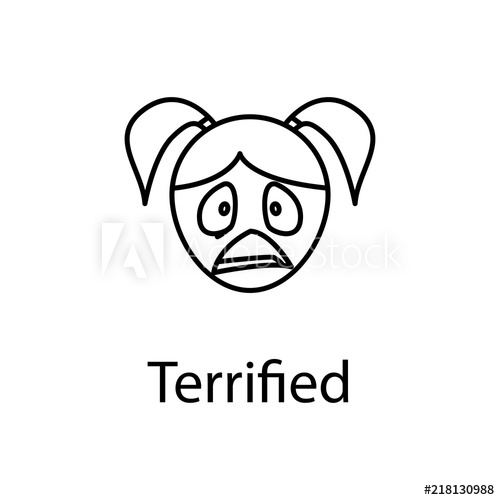 500x500 Terrified Girl Face Icon Element Of Emotions For Mobile Concept