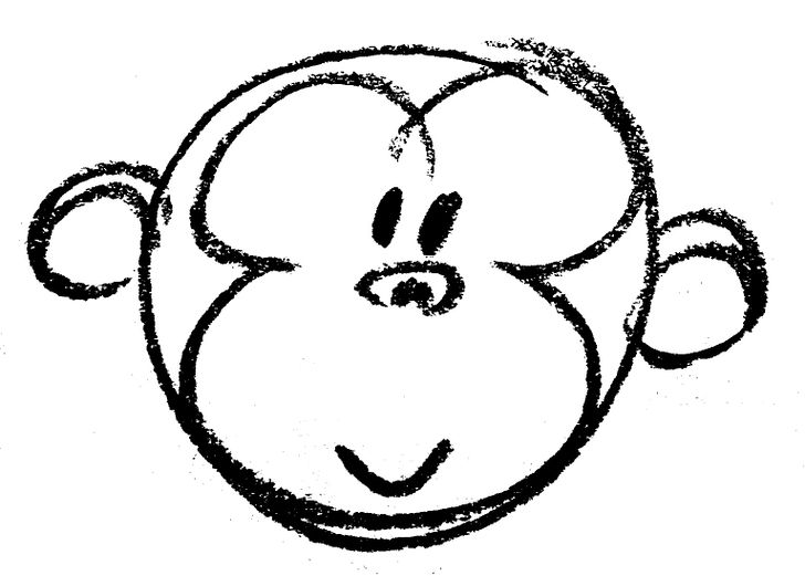 728x521 How To Draw A Cartoon Monkey Face Steps