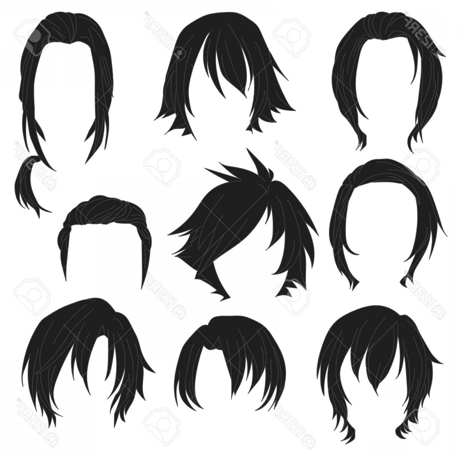 1560x1560 Photostock Vector Hair Styling For Woman Drawing Black Set