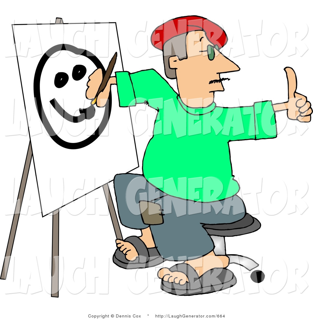 1024x1044 Humorous Clip Art Of A Male Artist Giving A Thumbs Up And Drawing