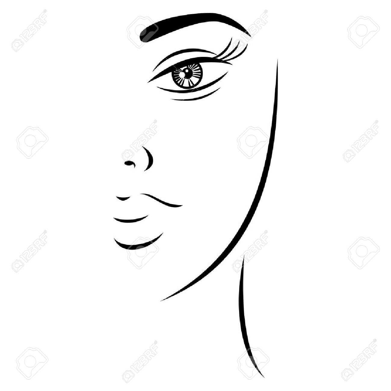 1300x1300 Huge Collection Of 'lady Face Drawing' Download More Than