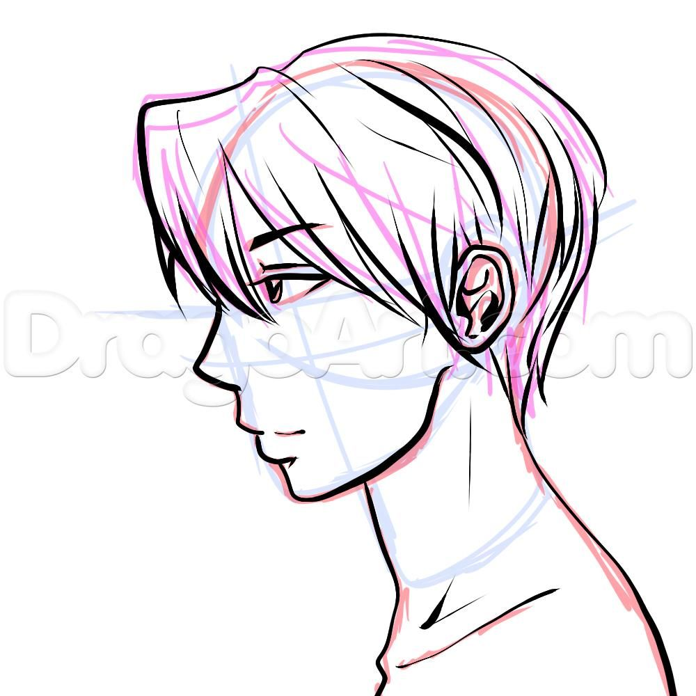1000x1000 Side View Male Anime Face Drawing Tutorial Step Character