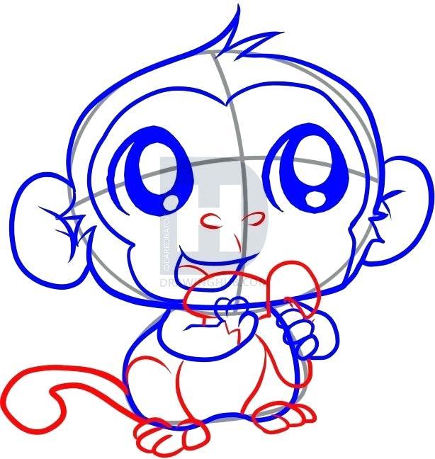 614x648 Easy Monkey To Draw Draw Monkey Face Easy Easy Monkey Drawing Step