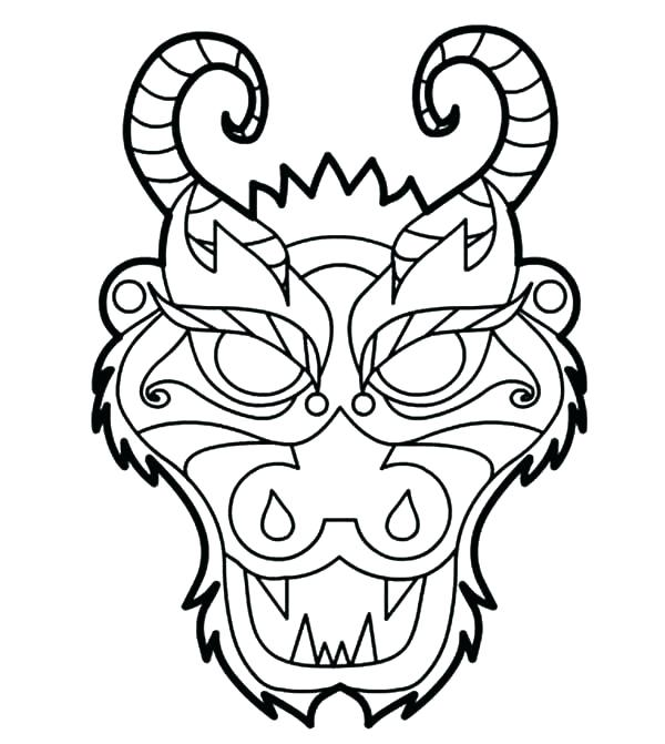 600x671 Dragon Mask Template Chinese Face Literals Polyfill