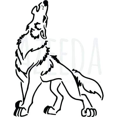 400x400 Wolf Wall Stencil Template Face Cut Out