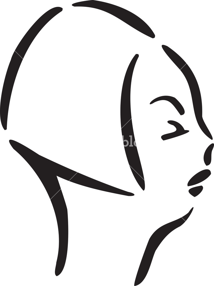 747x1000 Illustration Of A Woman Profile Face Royalty Free Stock Image