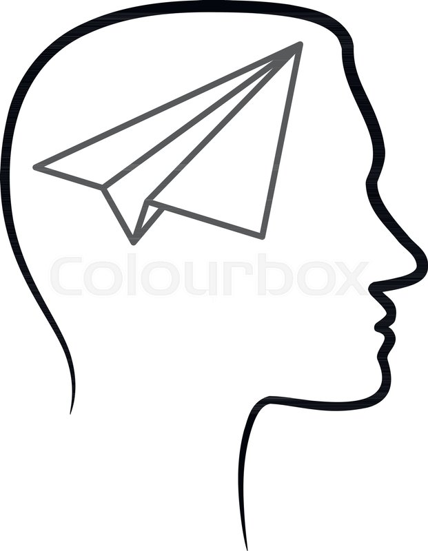 621x800 Outline Design Icon With Human Head, Stock Vector Colourbox