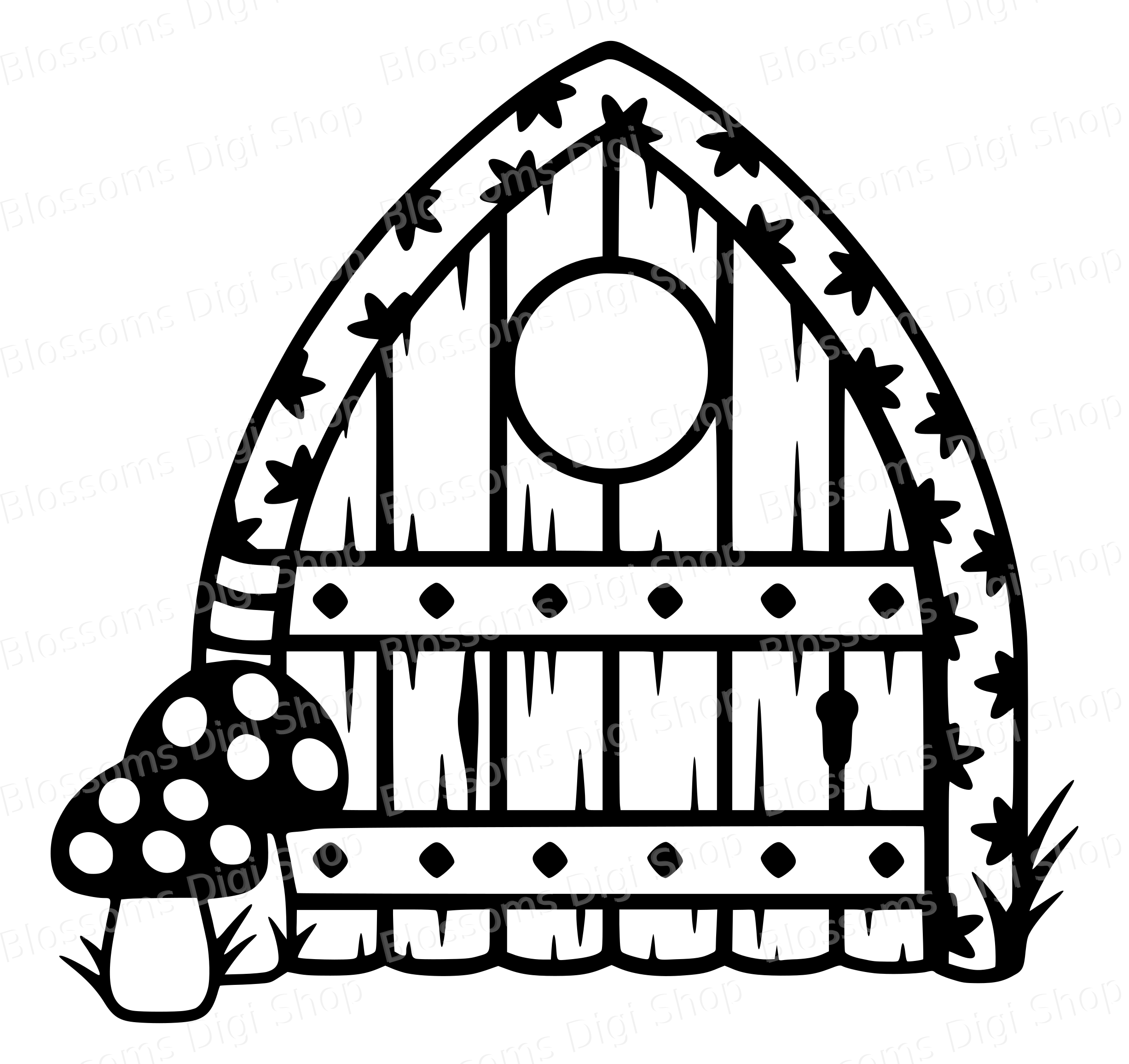 2453x2313 Fairy Door Archway With Mushrooms, Old Wood Stencil, Pixie