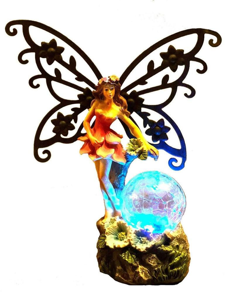 844x1000 Solar Light Fairy Garden Angel Statue Wings And Glowing Ball