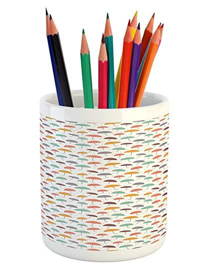 421x550 Lunarable Doodle Pencil Pen Holder, Floating Umbrellas