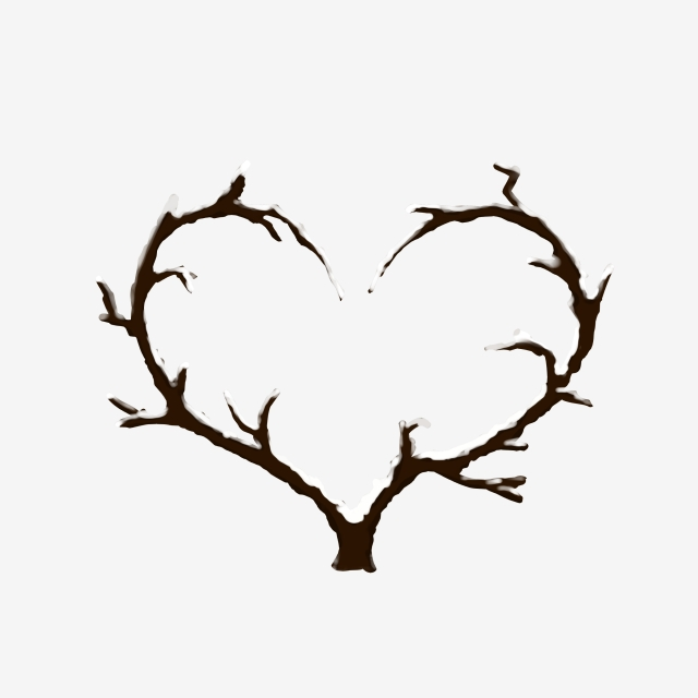 640x640 Hand Painted Creative Heart Shaped Falling Snow Branches Winter