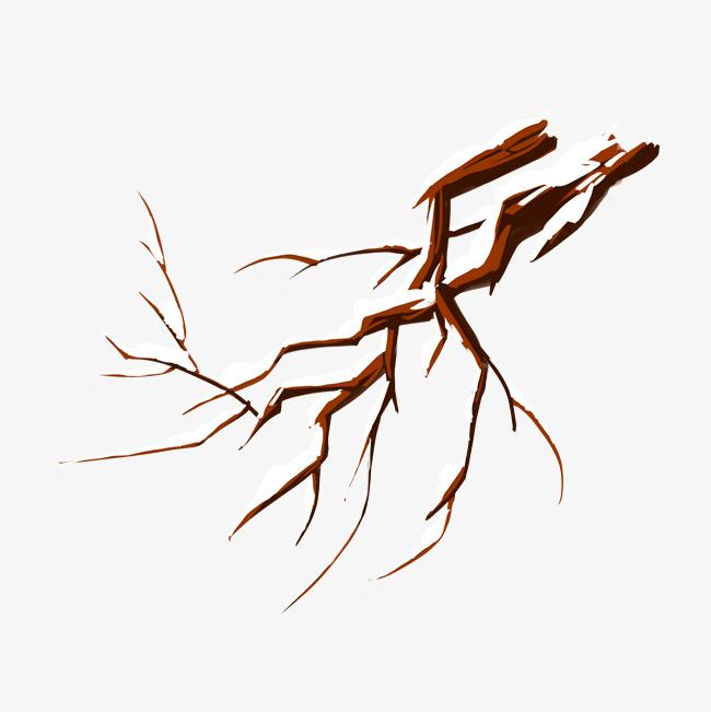 650x651 Hand Drawn Tree Branches Falling Snow Big Tree Illustration Image
