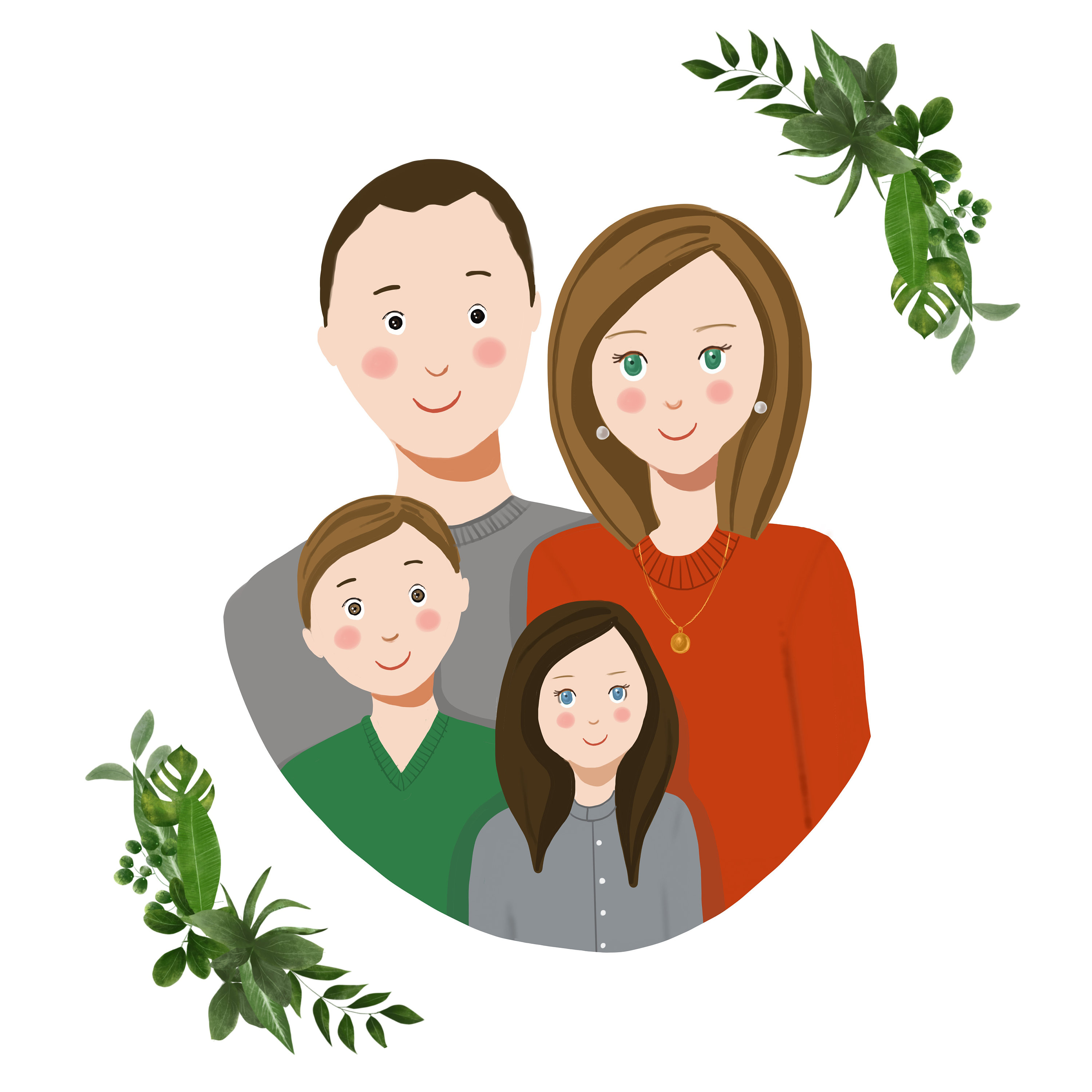 3000x3000 family portrait illustration personalized family gift family etsy