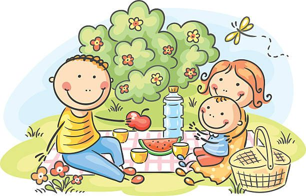 612x393 Happy Family Having Picnic In The Park, No Gradients Png