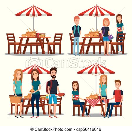450x452 Young People In Picnic Day Scene Vector Illustration Design