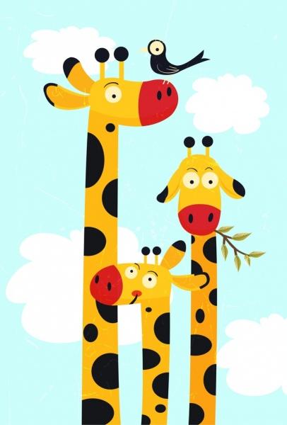406x600 Giraffe Family Drawing High Neck Closeup Multicolored Cartoon Free