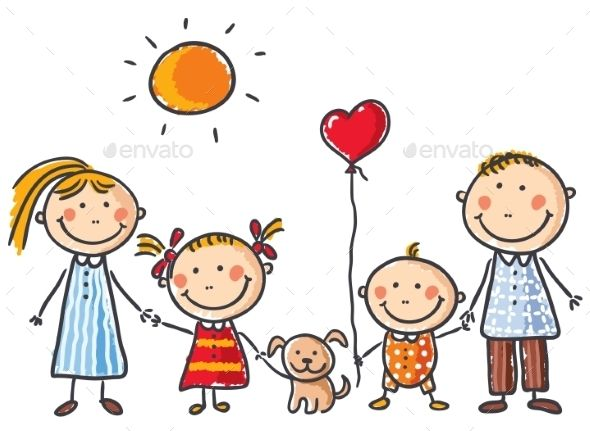 590x431 Happy Family With Two Children And A Puppy Flat Vector People