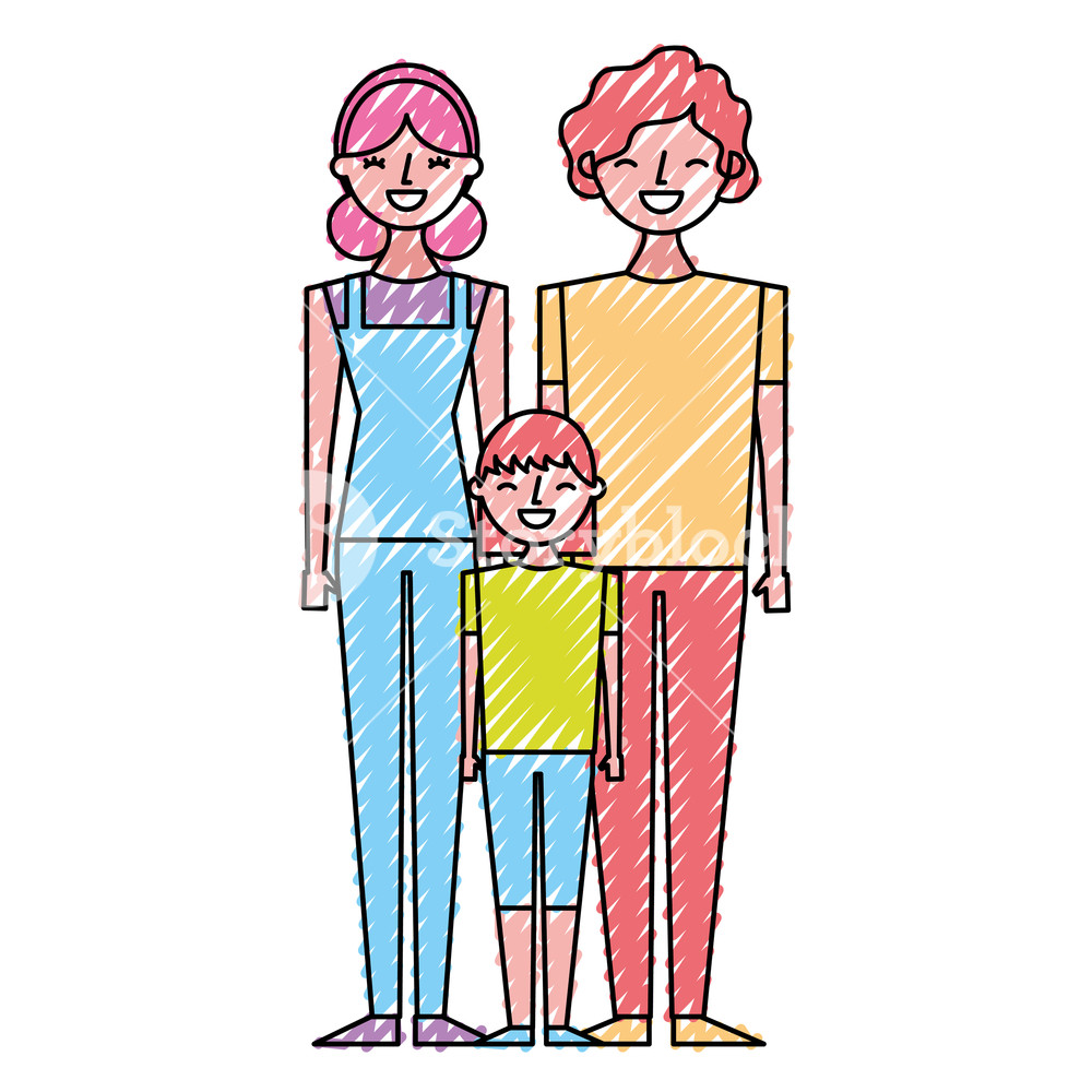 1000x1000 Happy Family Standing Together Father Mother And Girl Vector
