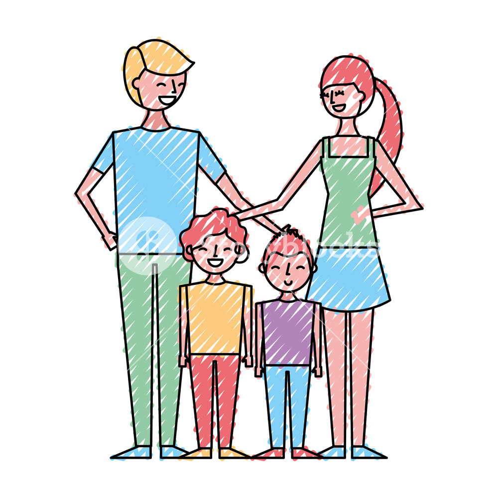 1000x1000 Young Family Parents With Their Childrens Cartoon Vector