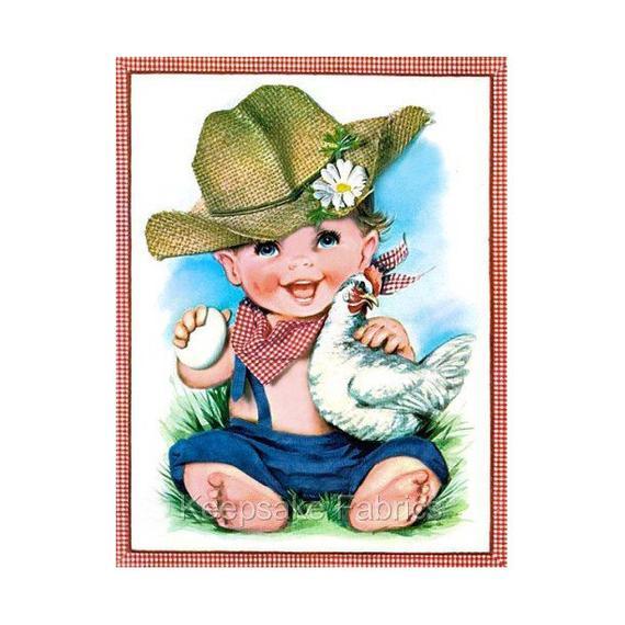 570x570 Darling Little Farm Boy Hen Reproduction Fabric Crazy Quilt Etsy