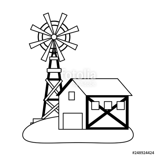 500x500 Farm House And Windmill Symbol Black And White Stock Image