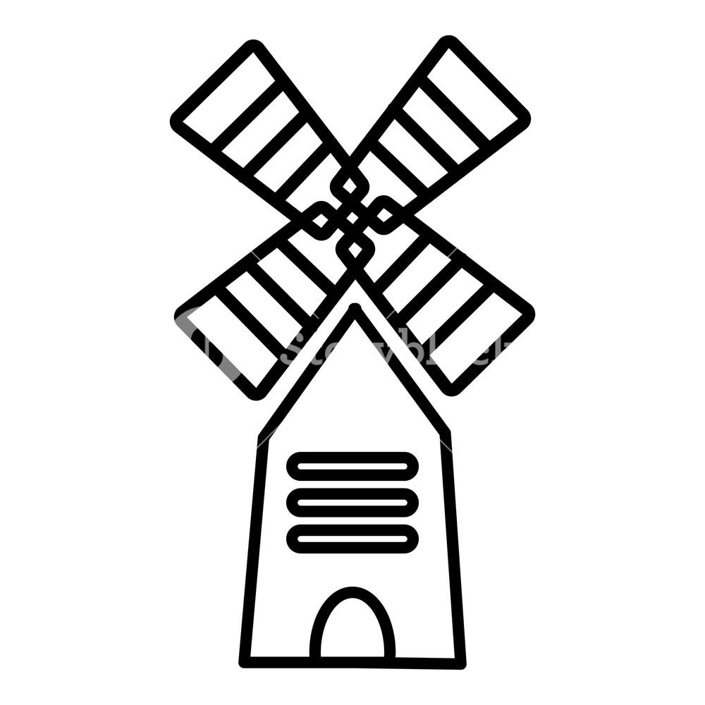 1000x1000 Farm Windmill Icon Outline Illustration Of Farm Windmill Vector