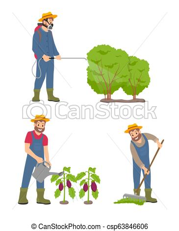 365x470 farming man with sprayer set vector illustration farming man