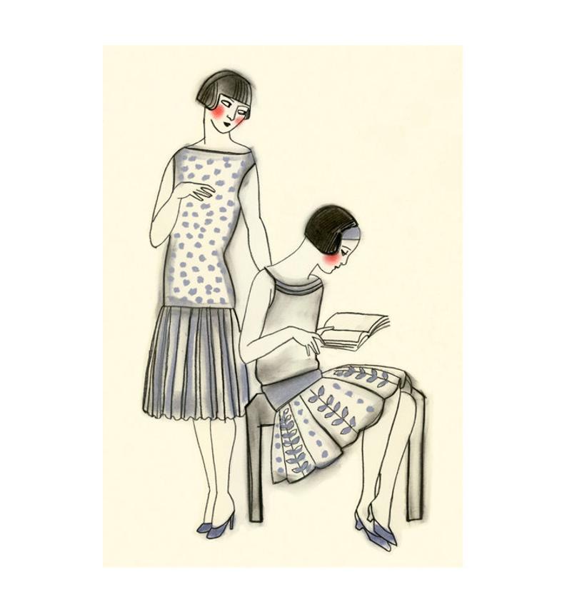 794x857 art deco fashion drawing art deco afternoons x print etsy