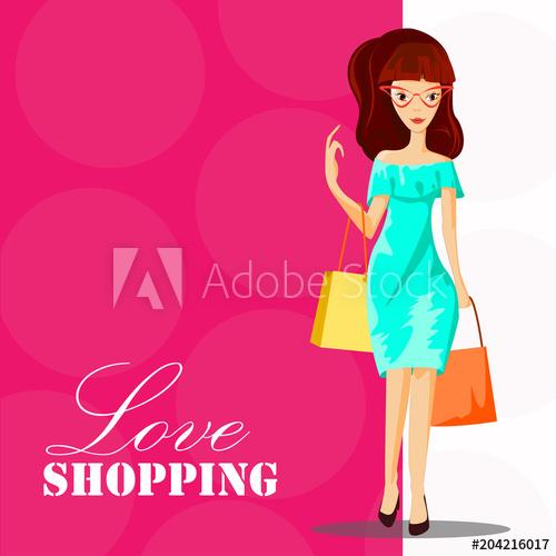 500x500 fashion woman with shopping bag love shopping template, fashion