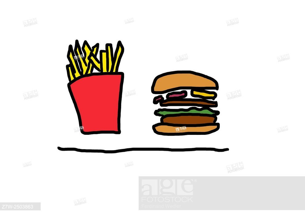990x700 fast food fast food hamburger fries burgers drawing, stock photo