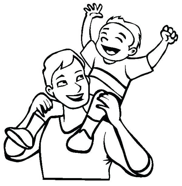 600x612 lovable father and son coloring pages beneficial father son