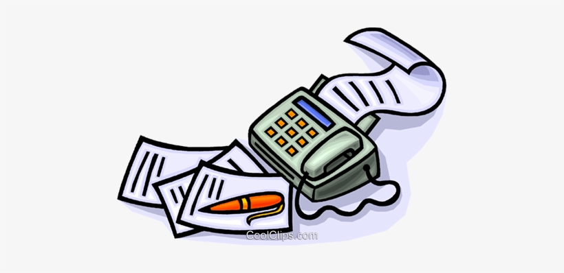 820x398 Fax Machine With Pen And Paper Royalty Free Vector