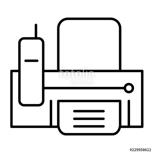 500x500 Fax Thin Line Icon Print Vector Illustration Isolated On White
