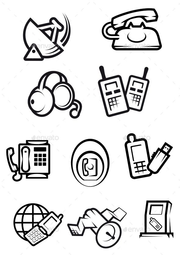 590x834 Telephone Technology Icons With Silhouettes Of Smartphones, Dial