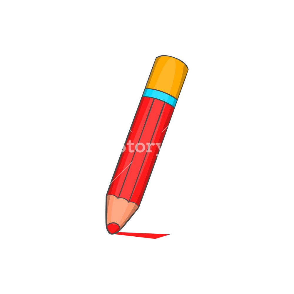1000x1000 Pencil Icon In Cartoon Style Isolated On White Background Drawing