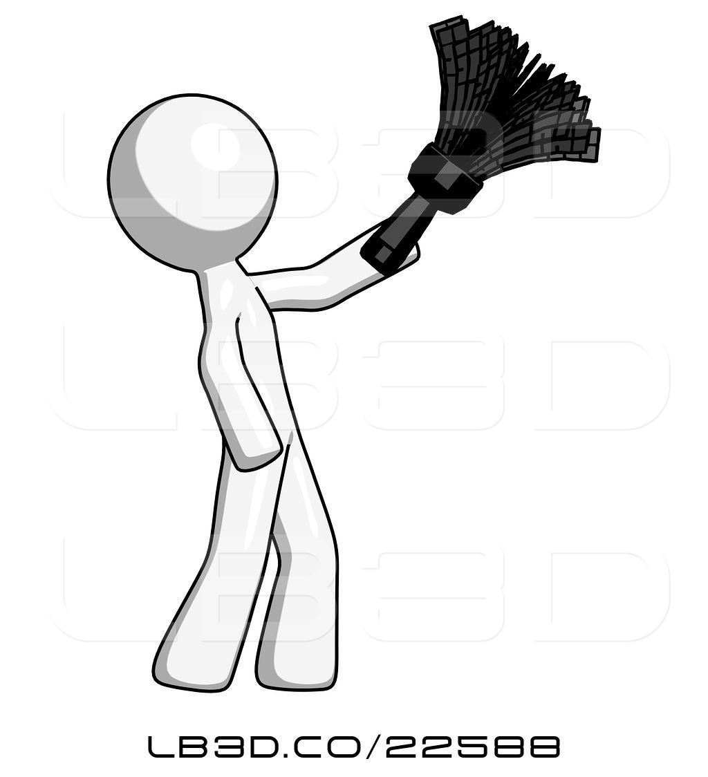 1024x1124 Illustration Of White Design Mascot Guy Dusting With Feather